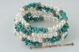 pbr264 White potato pearl& blue turquoise flexible bangle bracelet