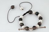 pbr265 Fancy design 9.5-10.5mm black and white whorl pearl adjustable bracelet