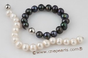 pbr267 11-12mm off round freshwater potato pearl bracelet