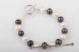 pbr268 8-9mm white& black potato pearl bracelet in wholesale