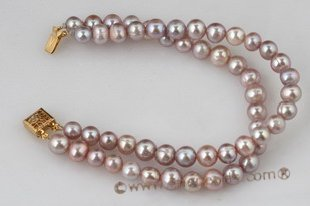 pbr269 Double rows purple potato pealr bracelet with gild clasp