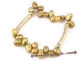 Fashion Gold plated 7-8mm champagne nugget pear elastic bracelet