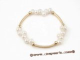 pbr275 fashion 6-7mm white side-drilled stretchy bracelet  with gold plated pipe