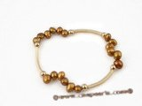 pbr276 Shiny 6-7mm freshwater nugget pearl with gold plated pipe stretchy bracelet