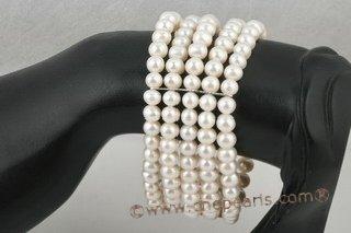 pearl bracelet jewelry, five rows white freshwater pearl elastic bracelet pbr279 Cnepearls Ltd