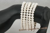 pbr279 Classic white freshwater pearl elastic bracelet in five rows