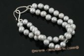 pbr281 Double strands grey potato pearl and crystal bracelet
