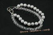 pbr282 7-8mm grey potato pearl and crystal double row bracelet