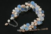 pbr283 Hand Wired freshwater rice pearl and crystal Cluster Bracelet