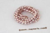 pbr290 8 rows mix size cultured pearl stretch elastic bracelet in purple