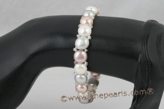 Pbr291 Colorful freshwater bread Pearl stretch bracelet