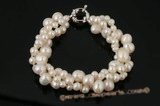 pbr293 Three Row White Freshwater Pearl Twisted Bracelet
