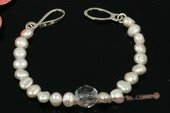pbr298 Designer 8-9mm white nugget pearl and crystal bracelet