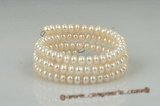 pbr302 Fashion 6-7mm white button pearls wire bangle bracelet