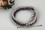 pbr305 Colorful freshater nugget Pearl Stretchy Bracelet for Xmas day