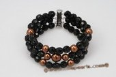 pbr329 Classic Faceted Black Agate& Shell Pearl Elastic Bracelet