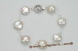 pbr348 tin-cup style coin pearl bracelet with matching round 925 clasp