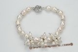 pbr349 Freshwater Cultured Rice Pearl Cluster Bracelet 7.5 inch length