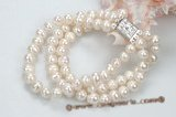 pbr354 Three Strands white cultured pearl bracelet in wholesale
