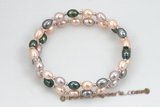 pbr359 two strand 6-7mm  freshwater rice pearl ,multi color stretch bracelet