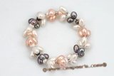 pbr361 Stretchy Freshwater Firecracker Pearl Bracelet 7.5 inch length
