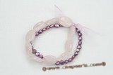pbr365 6-7mm nugget shape purple pearls and rose quartz beads bracelets