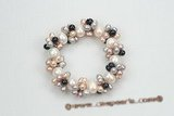 pbr366 freshwater rice pearl and potato pearl elastic bracelet