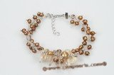 pbr368 freshwater pearl and baroque man made crystal bracelet jewelry