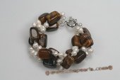 pbr375 Hand knotted Dancing Pearl and Tiger eye&#39s Bracelet