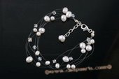 pbr380 Nature white potato pearl& crystal illusion Gossamer Bracelet