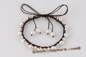 pbr381 Hand Knitted White Freshwater Nugget Pearl Bangle Bracelet