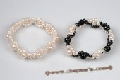 Pbr386 Elegance Hand Knitted 3-4mm Button Pearl Flexible Bracelet
