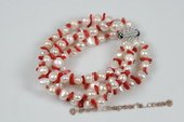 Pbr390 Hand Knotted White Nugget Pearl and Coral Bracelet
