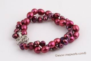 Pbr397 Two strands wine red color freshwater cultured pearl bracelet
