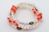 Pbr403 Lovely Cultured Pearl& Gemstone Stretch Wire Bangle Bracelet