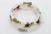 Pbr404 Three Rows Multi-Color Cultured Pearl and Gemstone Wrie Bangle Bracelet