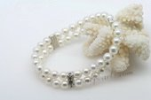 pbr406 Double Rows 6mm white sea shell  Pearl Bracelet
