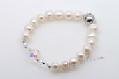 pbr407 Designer 8-9mm white potato pearl and crystal bracelet