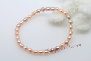 pbr411 4-5mm purple and pink stretchy freshwater rice pearl bracelet