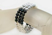 Pbr420 Three Rows Mixcolor Potato pearl Adjustable Bangle Clasp