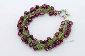 Pbr428 Silver Toned Bracelet with Wine Red Nugget Pearls and peridot Beads