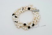 Pbr431 Triple Strand White Pearl Bracelet with Synthetic Smokey Quartz