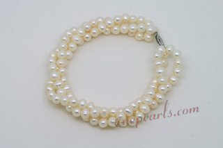Pbr432 White Pearl Triple Twisted Strands Hand Knotted Bracelet
