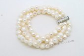 Pbr434 Hand Knotted White Pearl Triple Strands Bracelet