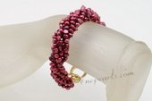 Pbr442 Stylish Wine Red freshwater Nugget Pearl Twisted Bracelet