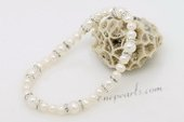pbr456 Hot Sell White Freshwater Potato Pearl stretchy bracelet