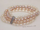 pbr459 Four Rows Nature Color Freshwater Rice Pearl Stretchy Bracelet