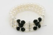 pbr462 Three Rows White Potato Pearl& Black Agate Stretchy Bracelet