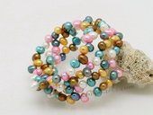 pbr465 Lovely 6-7mm Colorful Side Drilled Cultured Pearl Bangle Bracelet