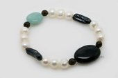 pbr467 Lovely Freshwater Pearl Bracelet with Jasper & Smoky Quartz